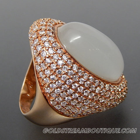 OVAL SILLIMANITE CAT'S EYE & WHITE TOPAZ STUDDED WIDE DOMED VERMEIL STERLING SILVER COCKTAIL RING - SIZE 6.5