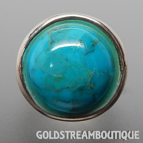 Clyde Duneier 925 Silver Turquoise Dome Patterned Hollow Cocktail Ring - Size 7.75