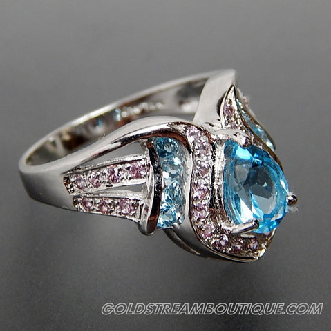 BLUE & WHITE TOPAZ SHINY STERLING SILVER FANCY POINT COCKTAIL RING - SIZE 7.25