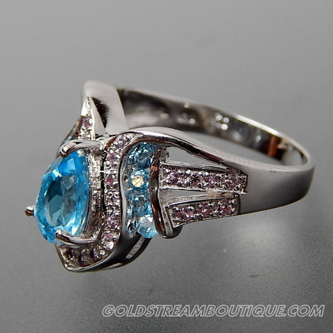Blue & white topaz shiny sterling silver fancy  point cocktail ring size 7.25