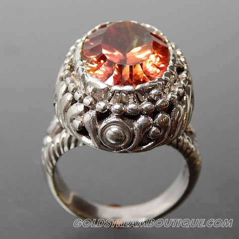 OVAL ORANGE MYSTIC TOPAZ SCROLL WORK HIGH SETTING STERLING SILVER COCKTAIL RING - SIZE 5.5