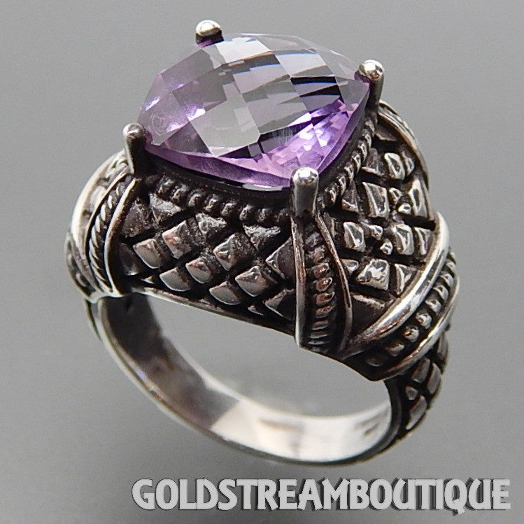 Clyde Duneier 925 Silver Faceted Amethyst Grid Patterned Borgia Revival Ring - Size 7