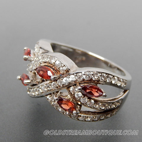 MARQUISE GARNET & ROUND WHITE TOPAZ BRAIDED CLUSTER STERLING SILVER RING - SIZE 7