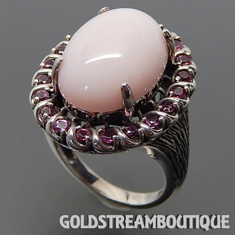 Clyde Duneier 925 Silver Oval Pink Opal Cabochon Kunzite Cocktail Ring - Size 7.25