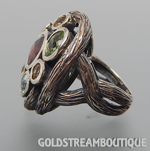 Clyde Duneier 925 silver multi gemstone tree branches braid design cluster ring - size 7