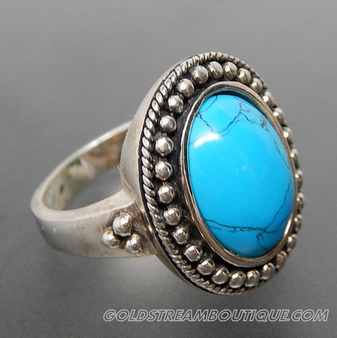 OVAL TURQUOISE BEADED EDGE TWISTED ROPE BORDER STERLING SILVER RING - SIZE 6