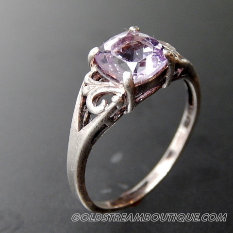 VINTAGE AMETHYST PRONG SETTING SWIRLS OPEN DESIGN STERLING SILVER RING - SIZE 10.25