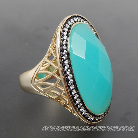 Blue chalcedony white crystal accents black rhodium plating vermeil sterling silver cocktail statement ring - size 7