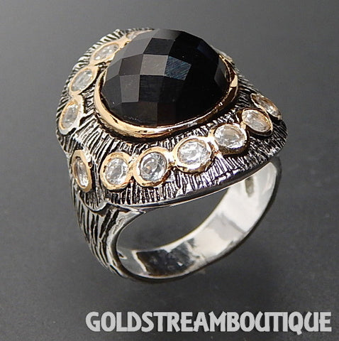 Clyde Duneier 925 silver faceted black onyx white topaz textured saddle ring - size 11