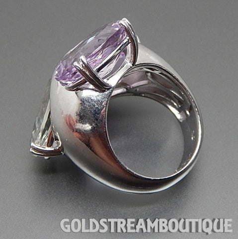 Clyde Duneier 925 silver green & lilac amethyst 3-stone statement ring - size 7