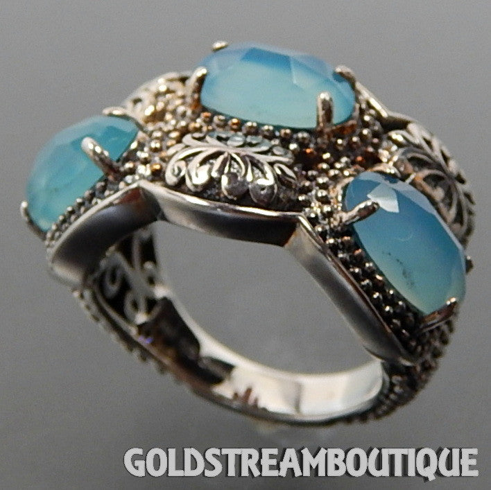 Clyde Duneier Sterling Silver Blue Chalcedony Granulated Ornate Fancy Band Ring - Size 7