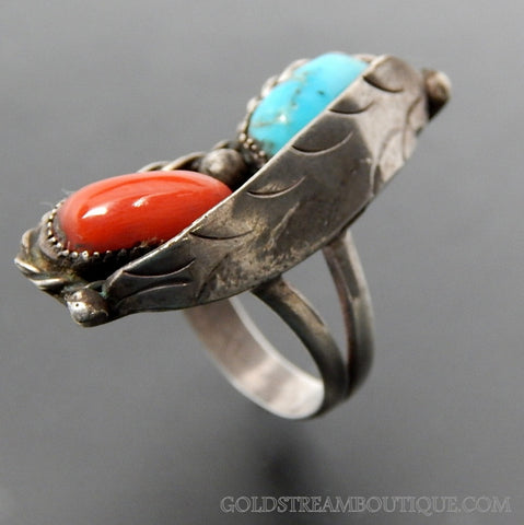 OLD PAWN NATIVE AMERICAN TURQUOISE & CORAL LEAF TWISTED ROPE STERLING SILVER RING - SIZE 6.5