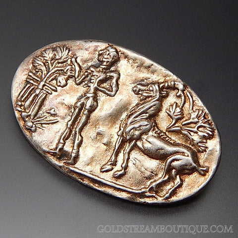 VINTAGE MADE IN GREECE STERLING SILVER GREEK MYTHOLOGY STORY TELLER OVAL RELIEF BROOCH PIN