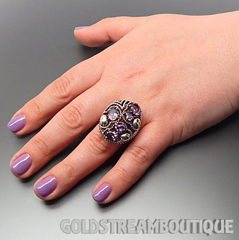 Clyde Duneier 925 silver oval amethyst nautical oval cluster cocktail ring - size 6.5