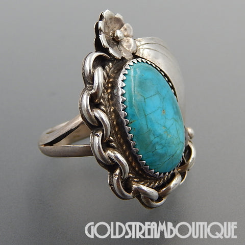 Native American Brenda Etsitty navajo sterling silver american turquoise nautical rope ring - size 7