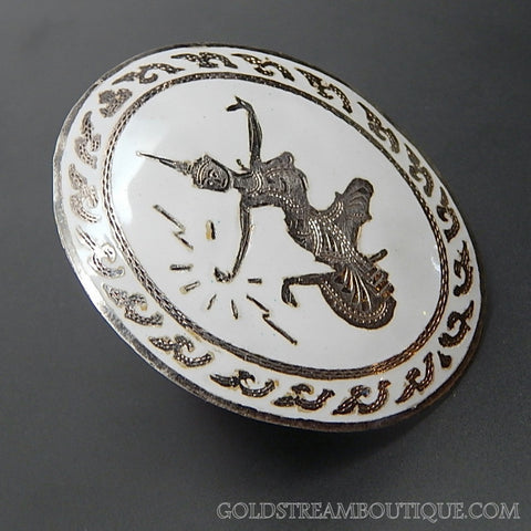 VINTAGE SIAM WHITE ENAMEL STERLING SILVER DANCING GODDESS BROOCH PIN