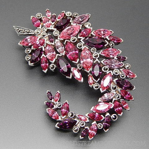 "VINTAGE STERLING SILVER MARQUISE GEMSTONES & MARCASITE ACCENTS ""PINK PASSION"" FEATHER BROOCH PIN"