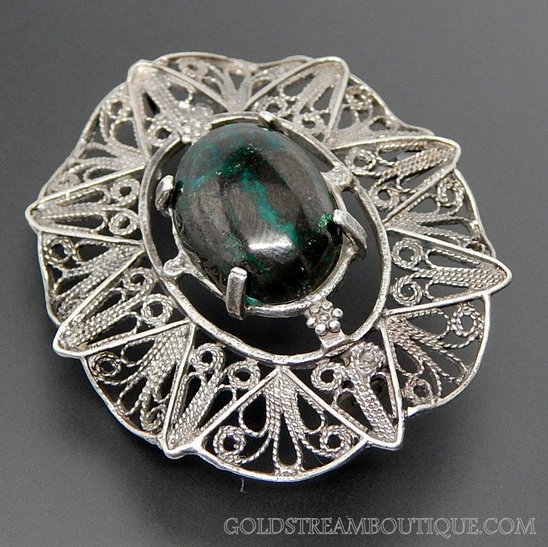 Vintage Chrysocolla Cuprite Cabochon Filigree Waved Lace Oval 935 Silver Brooch Pin Pendant Combo