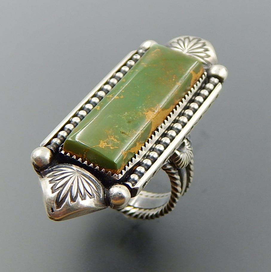 Handcrafted american turquoise sterling silver elongated ring - size 8.25