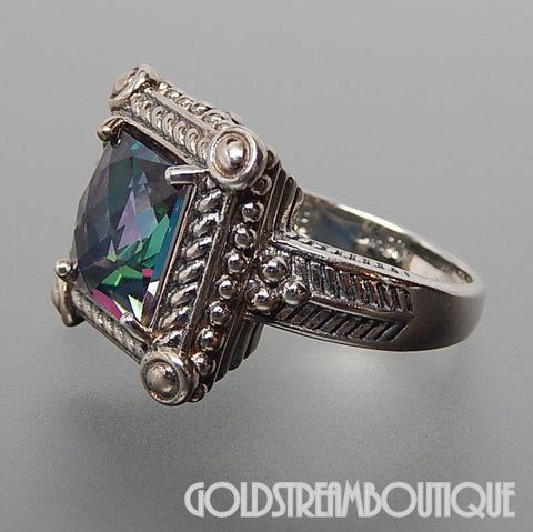 Clyde Duneier sterling silver mystic topaz rope beaded ribbed cocktail solitaire ring - size 7