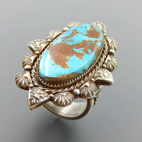 Handcrafted oval american turquoise sterling silver midnight star ring - size 9.25
