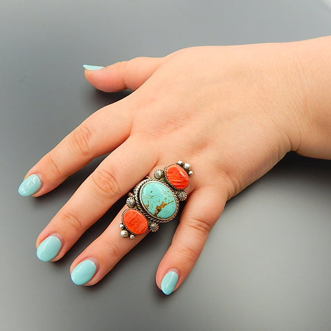 Handcrafted American Turquoise Red Spiny Oyster Sterling Silver Solid Long Ring - Size 8.75