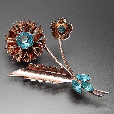 Vintage Sky Blue Rhinestones Bouquet Of Flowers Vermeil Sterling Silver Brooch Pin