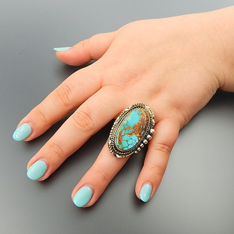 Handcrafted turquoise sterling silver solid oval ring - size 8.5