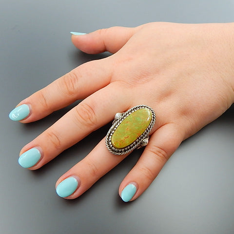 Handcrafted green american oval turquoise sterling silver solid wide ring - size 9