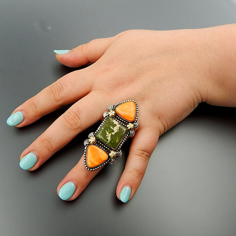 Handcrafted sterling silver 14k gold green american turquoise spiny oyster solid ring - size 8.75