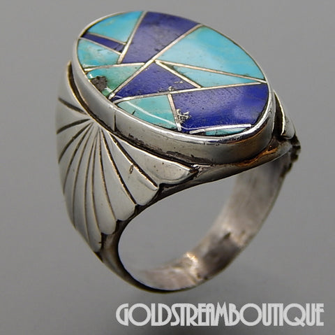 Native American Stunning Vintage Zuni Sterling Silver Turquoise Lapis Lazuli Mosaic Inlay Ring - Size 9.75
