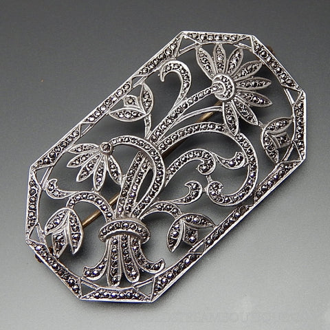 Vintage Art Nouveau Marcasite Accents Floral Open Design Brooch Pin