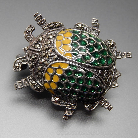 Vintage Jewelry Sterling Silver Marcasite Accents Green & Yellow Enamel Bug Beetle Brooch Pin