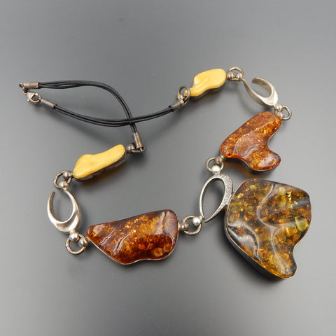 STERLING SILVER YELLOW HONEY & EGG YOLK BALTIC AMBER COMPLEX LEATHER NECKLACE 19""