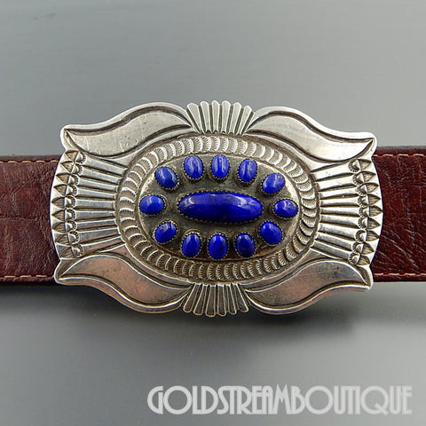 Native American Rick Martinez Navajo Sterling Silver Lapis Lazuli Retro Style Belt Buckle