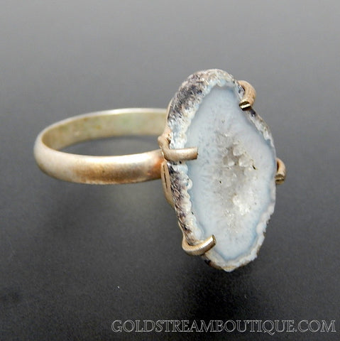 Grey White druzy agate sterling silver silver ring - size 8.5