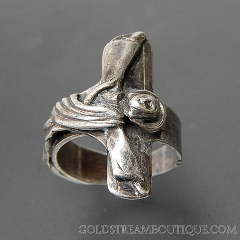 Vintage Detailed Crucifix Cross Sterling Silver Ring - Size 5.75