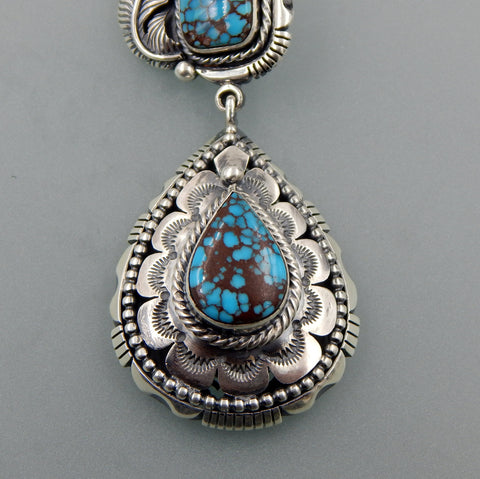 Unique handcrafted sterling silver Egyptian Turquoise large two parts feather pendant