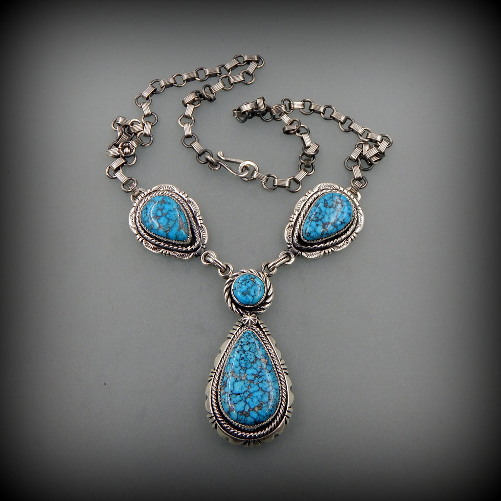 Unique handcrafted sterling silver Sonoran Blue J Turquoise   four parts Southwestern necklace 22.5""