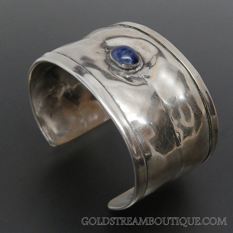Vintage Louis Booth Lapis Lazuli Sterling Silver Wide Modernist Cuff Bracelet
