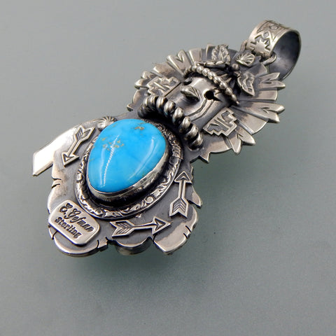 Unique handcrafted sterling silver Blue Water Turquoise double sided Kachina with feather pendant