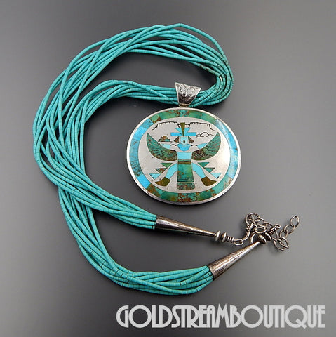 "Museum quality harlan coonsis Zuni native american 925 silver turquoise inlay knifewing pendant brooch pin combo and turquoise heishi beads 10 strands 23.25-26.5"" necklace"