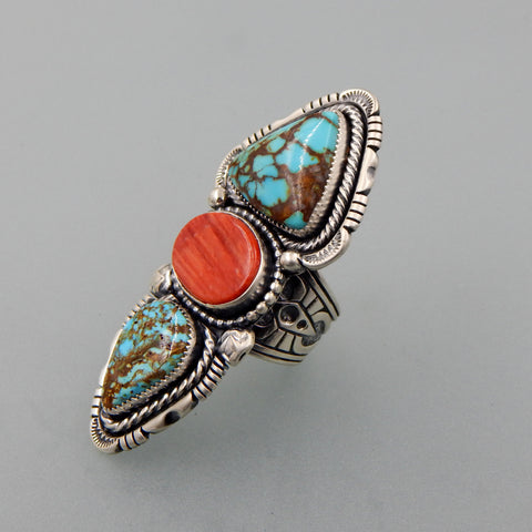 One of a kind handcrafted sterling silver Roystone turquoise  and spiny oyster elongated statement ring