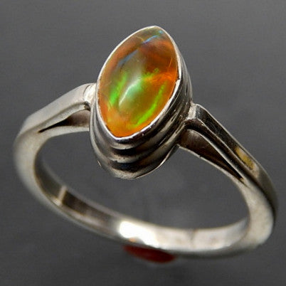 "Jelly Opal Cabochon Sterling Silver High Set ""Evil Eye"" Ring - Size 8"