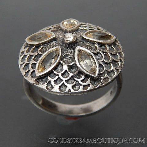 Vintage Marquise Citrine Sterling Silver Sand Dollar Ring - Size 6