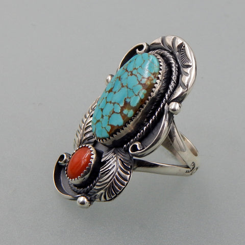 Lovely handcrafted sterling silver Kingman turquoise   and Mediterranean coral feather ring