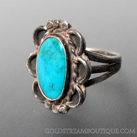 Vintage Southwestern Bright Blue Turquoise Swirls Sterling Silver Ring - Size 6