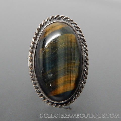 Oval Blue & Gold Tiger's Eye Twisted Rope Edge Sterling Silver Statement Ring - Size 7.5