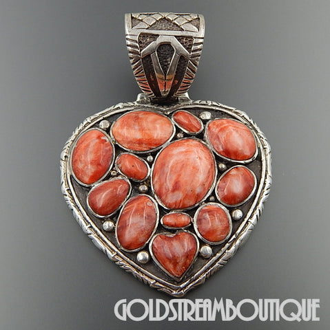 Native American Navajo signed unique sterling silver 12 spiny oyster shell large heart heavy pendant 86.8 gram