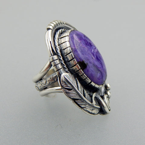 Lovely handcrafted sterling silver Russian Charoite feather and scroll ring size 7.25